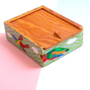 Painted wooden box w sliding top